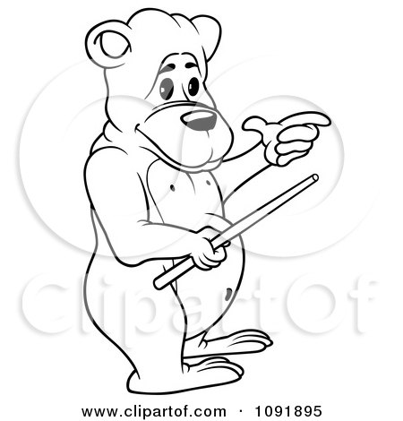 Clipart Outline Of A Teacher Bear Holding A Wand - Royalty Free Vector Illustration by dero