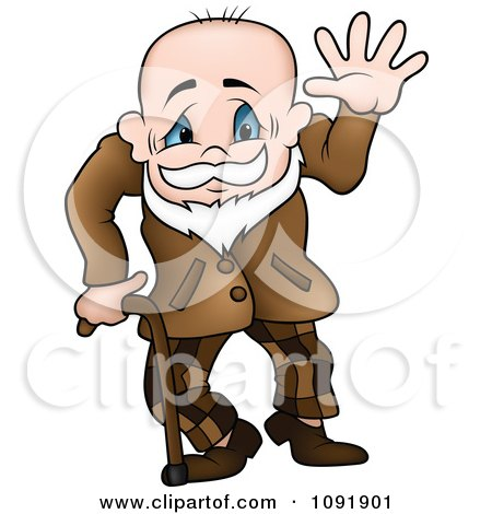 Clipart Senior Grandpa Waving And Using A Cane - Royalty Free Vector Illustration by dero