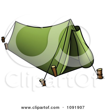 Clipart Green Camp Tent - Royalty Free Vector Illustration by dero