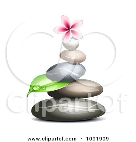 Clipart Hot Stone Massage Spa Stones With A Dewy Leaf And Frangipani - Royalty Free Vector Illustration by Oligo
