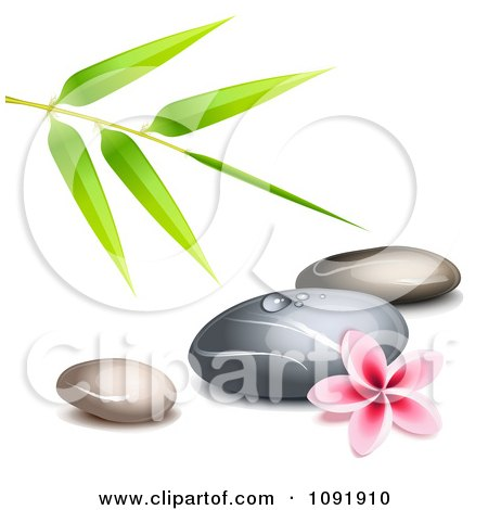 Clipart Hot Stone Massage Spa Stones With Bamboo And A Frangipani - Royalty Free Vector Illustration by Oligo