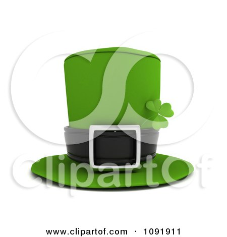Clipart 3d Green Leprechaun Hat With A St Patricks Day Clover - Royalty Free CGI Illustration by BNP Design Studio