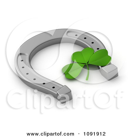 Clipart 3d St Patricks Day Clover And Lucky Horseshoe - Royalty Free CGI Illustration by BNP Design Studio