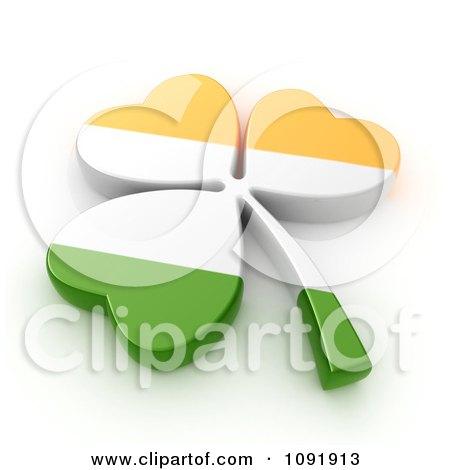 Clipart 3d Irish St Patricks Day Clover Flag - Royalty Free CGI Illustration by BNP Design Studio