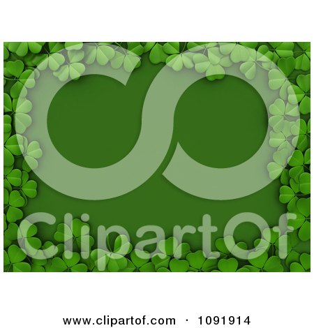 Clipart 3d Border Of St Patricks Day Shamrocks Over Green Copyspace - Royalty Free CGI Illustration by BNP Design Studio