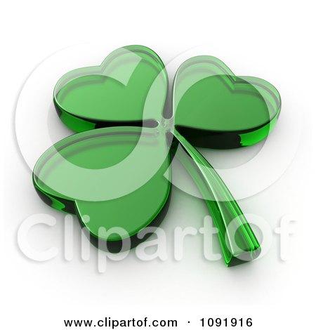 Clipart 3d Glass St Patricks Day Shamrock - Royalty Free CGI Illustration by BNP Design Studio