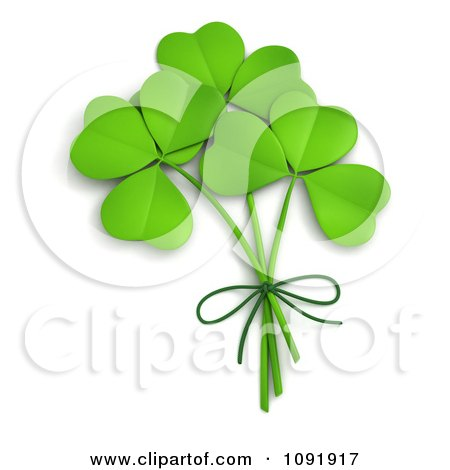 3d St Patricks Day Clovers Tied Together Posters, Art Prints