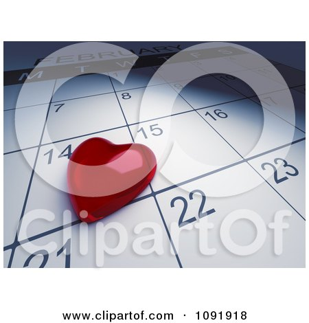 Clipart 3d Red Heart Paper Weight Resting On A Valentines Day Calendar - Royalty Free CGI Illustration by BNP Design Studio