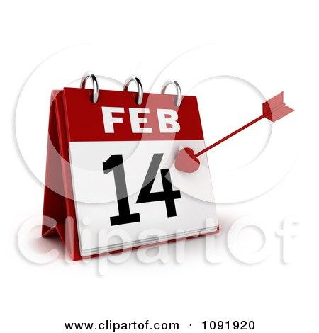 Clipart 3d Cupids Arrow On A Valentines Day Feb 14 Desk Calendar - Royalty Free CGI Illustration by BNP Design Studio
