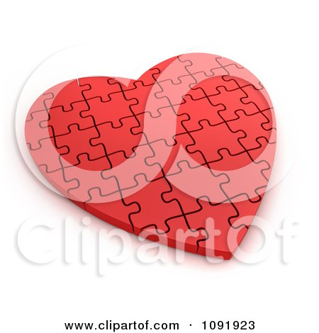 Clipart 3d Completed Red Puzzle Heart - Royalty Free CGI Illustration by BNP Design Studio