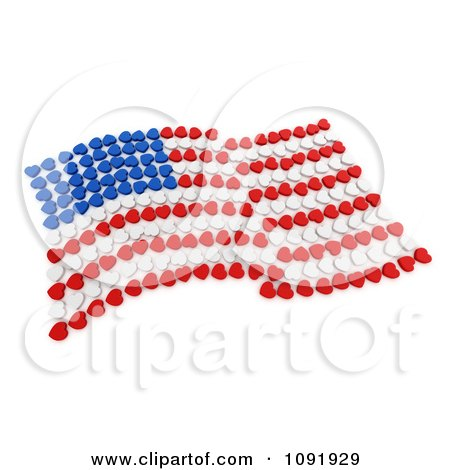 Clipart 3d Wavy American Flag Made Of Blue White And Red Hearts - Royalty Free CGI Illustration by BNP Design Studio