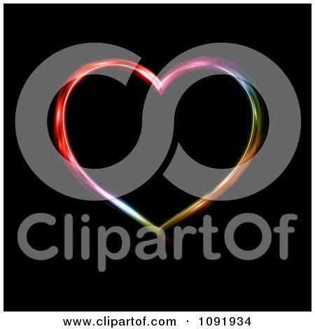 Clipart Neon Colored Heart On Black - Royalty Free Vector Illustration by KJ Pargeter