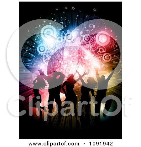 Clipart Silhouetted People Dancing Over A Disco Burst With Circles And Stars - Royalty Free Vector Illustration by KJ Pargeter