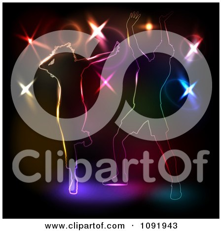 Clipart Two People Dancing Against Colorful Disco Lights On Black - Royalty Free Vector Illustration by KJ Pargeter