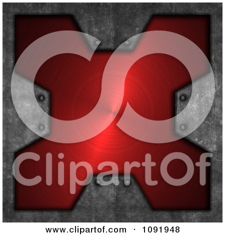 Clipart 3d Brushed Red Metal Cross Plaque And Cement - Royalty Free CGI Illustration by KJ Pargeter