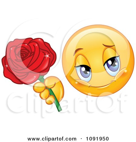 Clipart Romantic Valentine Emoticon Holding Out A Rose - Royalty Free Vector Illustration by yayayoyo