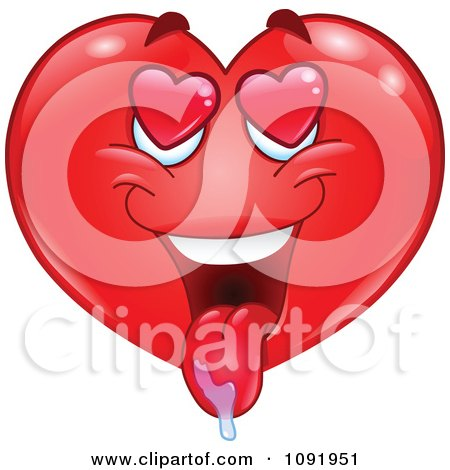 Clipart Valentine Heart Emoticon Drooling - Royalty Free Vector Illustration by yayayoyo