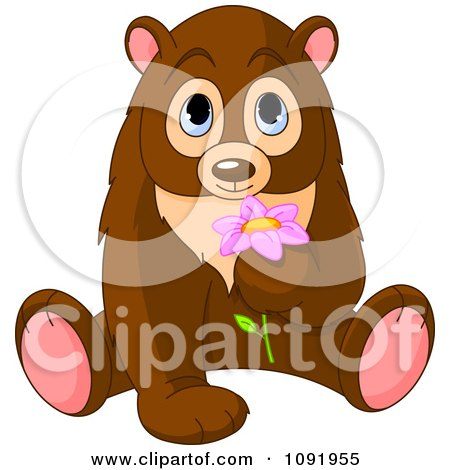 Clipart Cute Bear Smelling A Flower - Royalty Free Vector ...