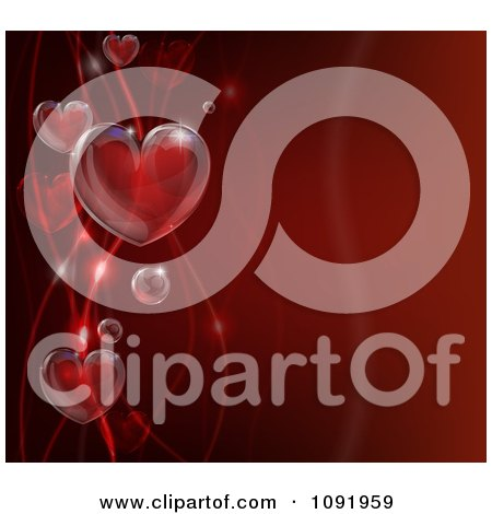 Clipart 3d Bubble Hearts And Waves On Red - Royalty Free Vector Illustration by AtStockIllustration