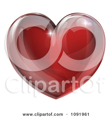 Clipart 3d Red Glass Heart - Royalty Free Vector Illustration by AtStockIllustration
