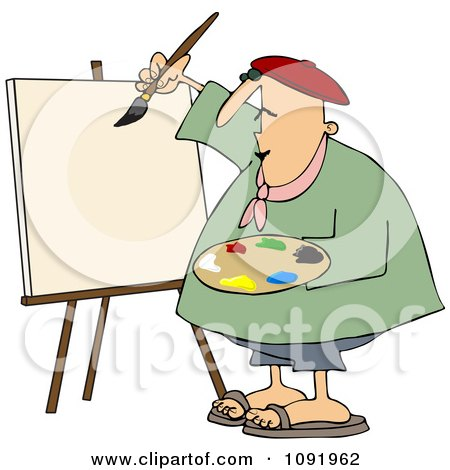 Chubby Artist Painter Working On A Blank Canvas Posters, Art Prints