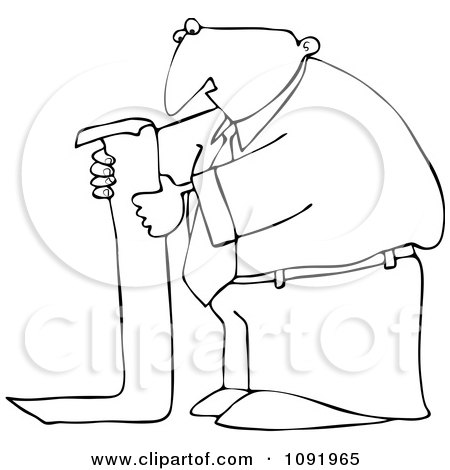 Clipart Outlined Businessman Reading A Long To Do List - Royalty Free Vector Illustration by djart