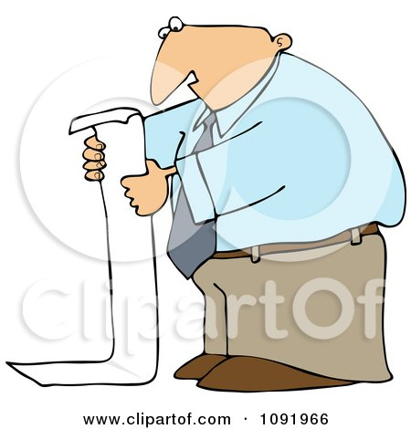 Clipart Business Man Reading A Long To Do List - Royalty Free Vector Illustration by djart