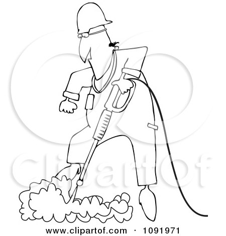 Clipart Outlined Worker Pressure Washing The Ground - Royalty Free Vector Illustration by djart