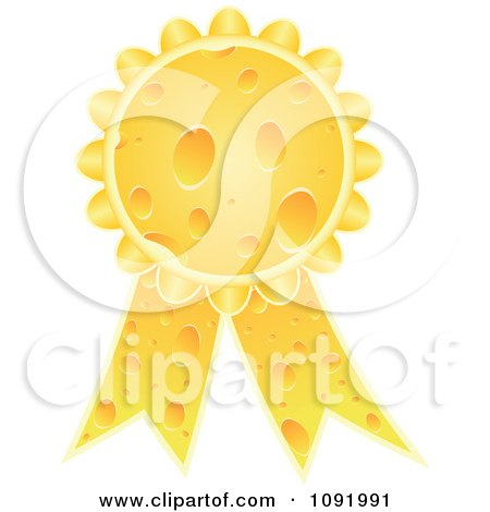 Clipart 3d Cheese Award Ribbon Medal - Royalty Free Vector Illustration by Andrei Marincas