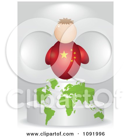 Clipart 3d Chinese Flag Person On An Atlas Podium - Royalty Free Vector Illustration by Andrei Marincas