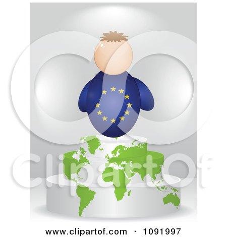 Clipart 3d European Flag Person On An Atlas Podium - Royalty Free Vector Illustration by Andrei Marincas