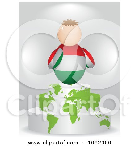 Clipart 3d Hungarian Flag Person On An Atlas Podium - Royalty Free Vector Illustration by Andrei Marincas