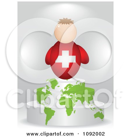 Clipart 3d Swiss Flag Person On An Atlas Podium - Royalty Free Vector Illustration by Andrei Marincas