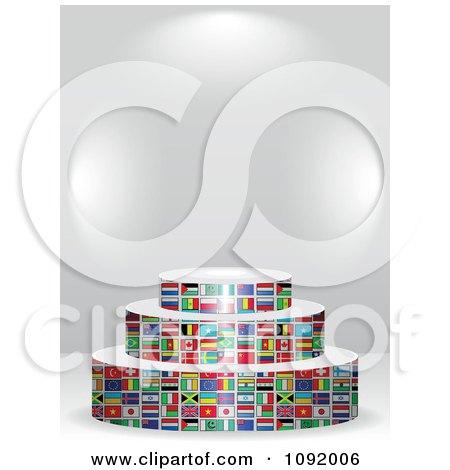 Clipart 3d World Flag Podium Under Copyspace - Royalty Free Vector Illustration by Andrei Marincas