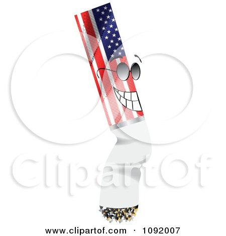 Grinning American Cigarette Butt Wearing Shades Posters, Art Prints