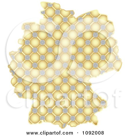 Clipart Golden Floral Map Of Germany - Royalty Free Vector Illustration by Andrei Marincas