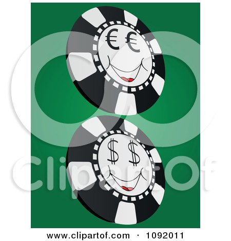 Clipart Smiling Euro And Dollar Poker Chips - Royalty Free Vector Illustration by Andrei Marincas