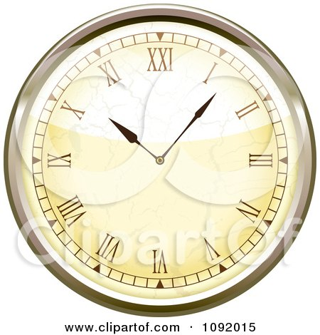 Clipart 3d Roman Numeral Wall Clock - Royalty Free Vector Illustration by michaeltravers