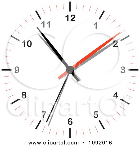 Clipart 3d Red White And Black Wall Clock - Royalty Free Vector Illustration by michaeltravers
