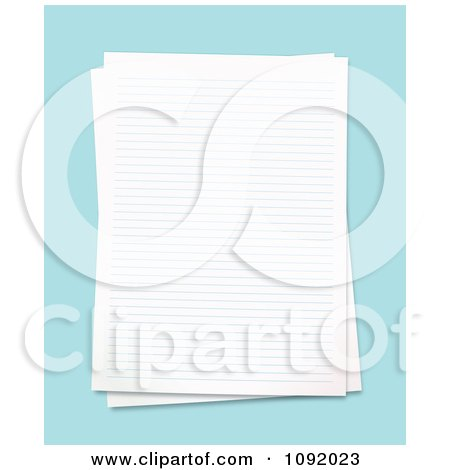 Clipart 3d Blank Ruled School Pages Over Blue - Royalty Free Vector Illustration by michaeltravers