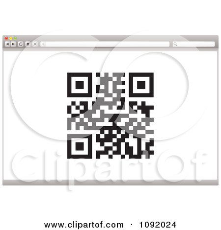 Clipart Qr Code On A 3d Internet Web Browser - Royalty Free Vector Illustration by michaeltravers