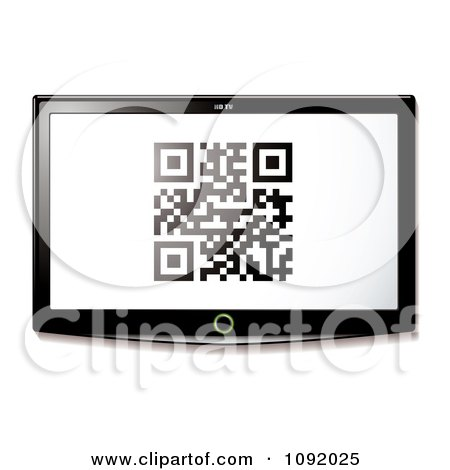 Clipart Qr Code On A 3d Television Screen - Royalty Free Vector Illustration by michaeltravers