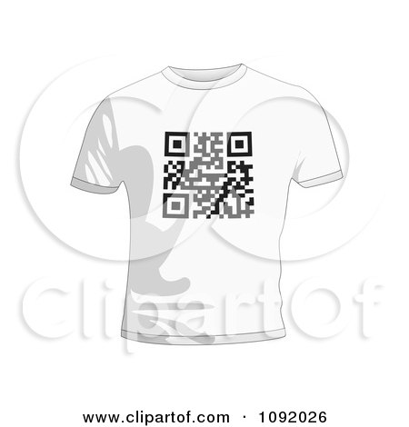 Clipart Qr Code On A White T Shirt - Royalty Free Vector Illustration by michaeltravers