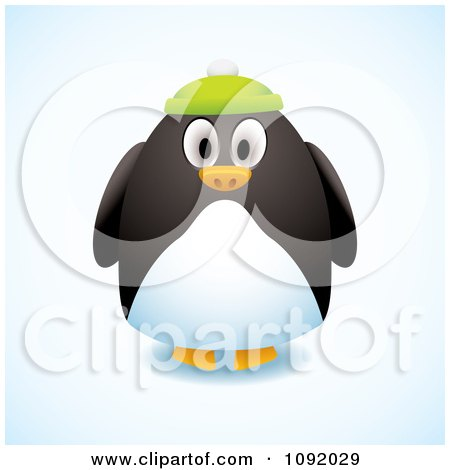 Clipart 3d Chubby Penguin Wearing A Green Hat - Royalty Free Vector Illustration by michaeltravers