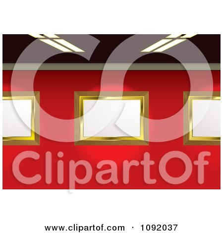 Clipart 3d Blank Golden Gallery Frames On A Red Wall Under Flourescent Lights - Royalty Free Vector Illustration by michaeltravers