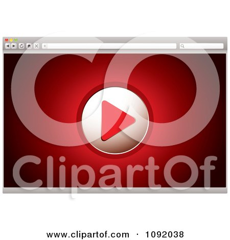 Clipart Play Button On A Red 3d Video Web Browser Screen - Royalty Free Vector Illustration by michaeltravers