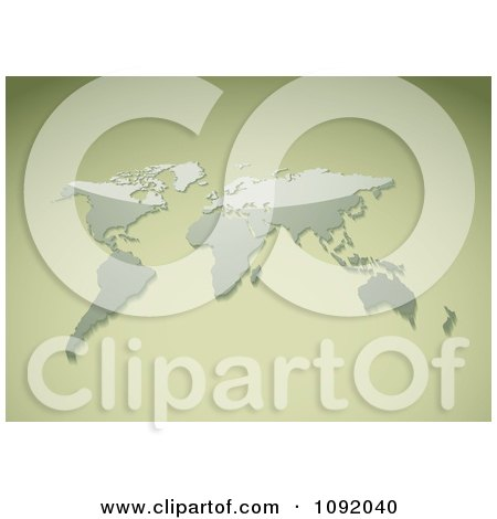 Clipart 3d Shiny Map On A Pastel Green - Royalty Free Vector Illustration by michaeltravers