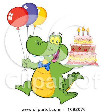 Clipart Birthday Alligator With Balloons And Cake - Royalty Free Vector Illustration by Hit Toon