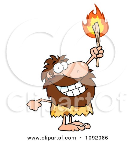 Clipart Happy Caveman Holding Up A Fiery Torch - Royalty Free Vector Illustration by Hit Toon