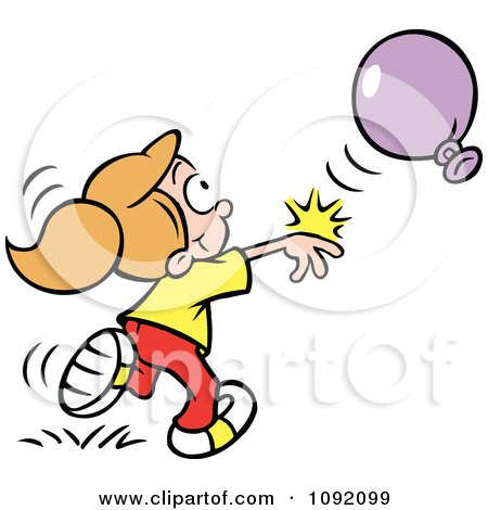 Clipart Boy And Girl Playing Balloon Volleyball Royalty